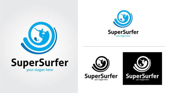 Super surfer creative and minimal logo template