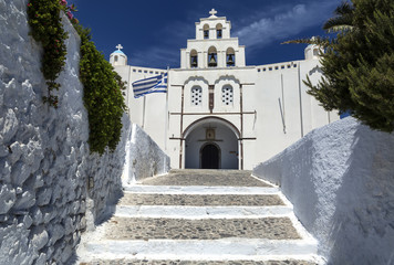 Pyrgos, Greece - June 13, 2019: Church of Pyrgos Kallistis at Santorini island in Pyrgos, Greece.