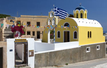 Fira, Greece - June 19, 2019: Buildings of the Folklore Museum in Fira, Santorini.