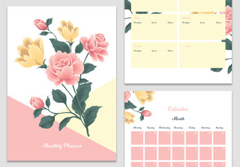 Monthly Planner Layout with Floral Elements