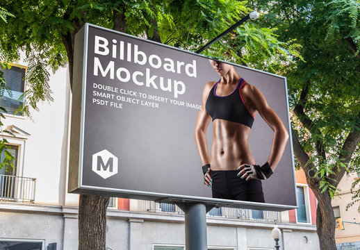 Large Horizontal Billboard in Outdoor Landscape Mockup