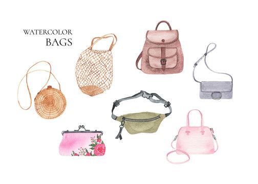 Watercolor womens fashion bags backpack clutch mesh waist