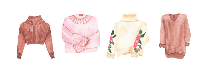 Watercolor womens fashion clothing warm woolen winter sweaters isolated Wall mural