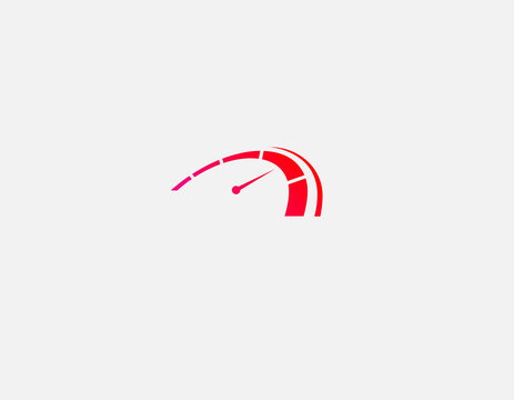 Creative Abstract red logo icon speedometer car speed