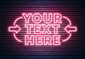 Neon Text on Brick Wall Mockup