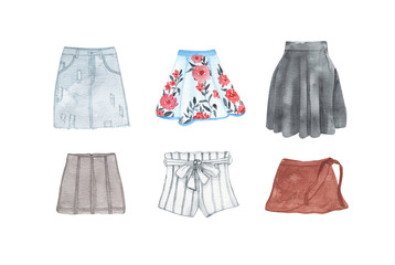 Watercolor womens fashion clothing denim shorts skirt isolated