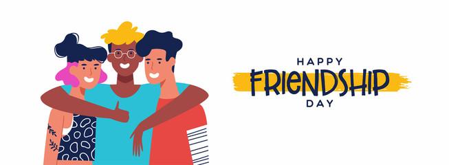 Fototapeta Friendship Day banner of three friends group hug obraz