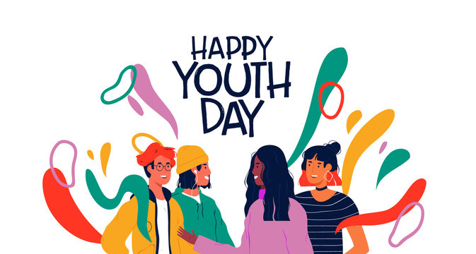 Happy youth day card of diverse teen friend group
