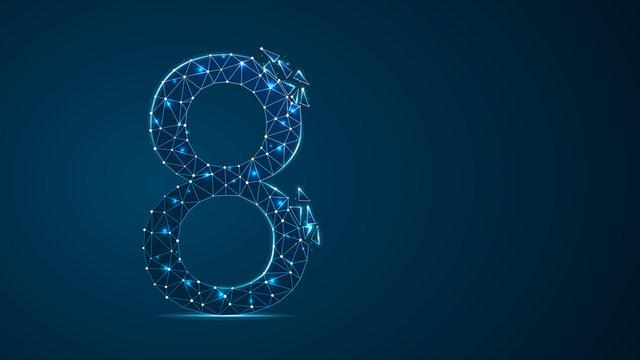 number eight 2D low poly abstract illustration consisting of points, lines, and shapes in the form of planets, stars and the universe. Vector digit 8 wireframe concept.