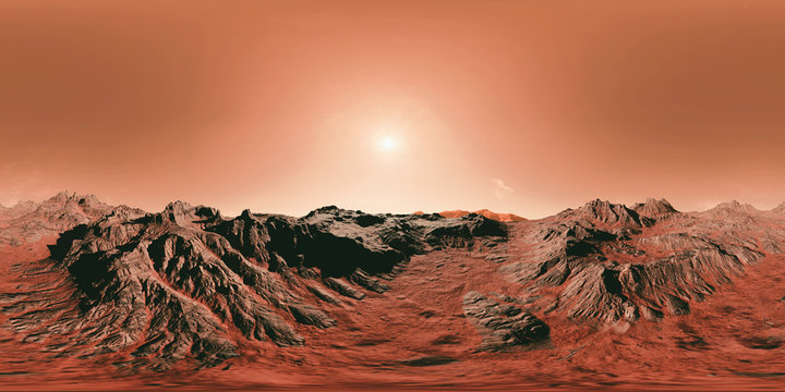surface of planet Mars, 8K HDRI map, spherical environment panorama background, light source illustration (3d equirectangular rendering)