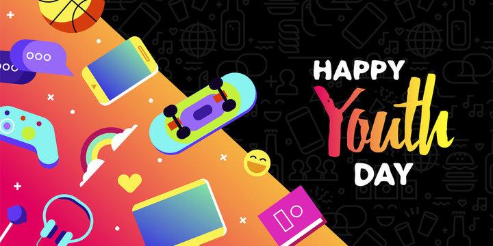 Happy youth card of fun teen internet leisure