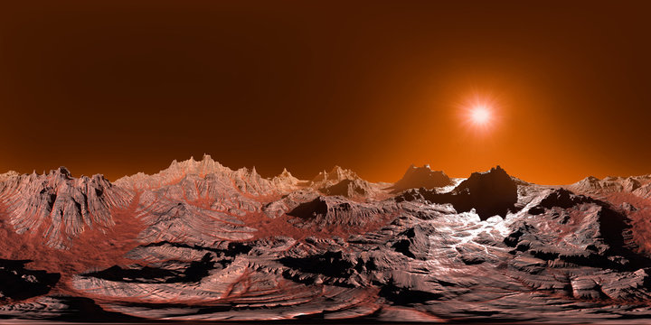 surface of planet Mars, 8K HDRI map, spherical environment panorama background, light source rendering (3d equirectangular illustration)
