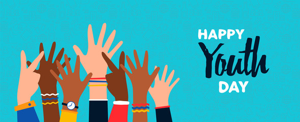 Happy Youth Day card of diverse teen hand group