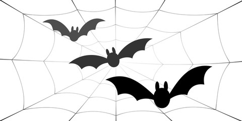 Bat icons set. Bat wings, black web silhouette isolated white background. Symbol Halloween holiday, mystery cartoon dark vampire, night flyin element. Spooky scary flat design. Vector illustration