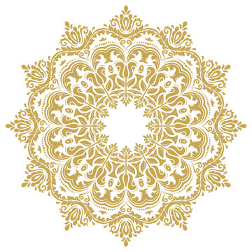 Elegant vintage vector ornament in classic style. Abstract traditional round golden pattern with oriental elements. Classic vintage pattern