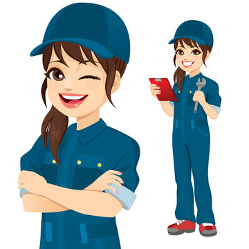 Professional female mechanic character holding clipboard and wrench tool standing and with crossed arms closeup