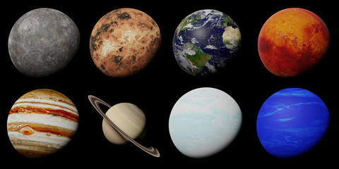 the planets of the solar system isolated on black background