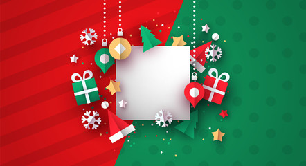 Christmas card template of 3d paper decoration