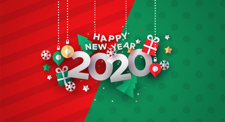 New Year 2020 card of 3d holiday paper icons