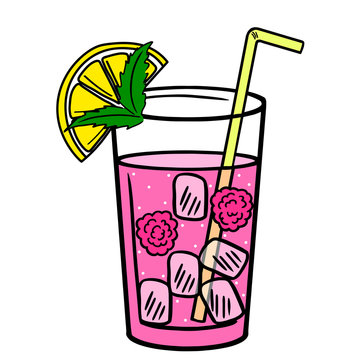 Lemonade glass with slice of lemon and raspberries. Hand drawn vector illustration. Cartoon style. Isolated on white background. Print for design t-shirt, poster, banner