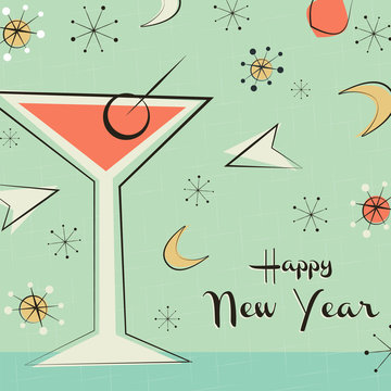 New Year card of retro mid century party drink