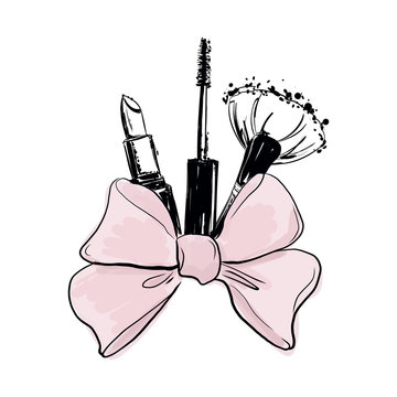 Fashion vector background with hand drawn cosmetics: lipstick mascara, makeup brush with bow. bunch of decorative cosmetics tied with beautiful ribbon. Makeup beauty fashion vector illustration