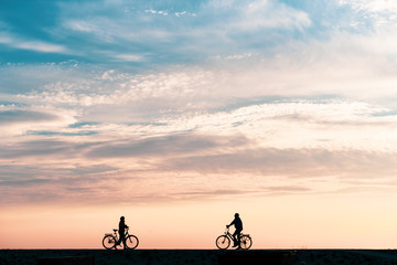 Bicycles on the dike with sunset Wall mural