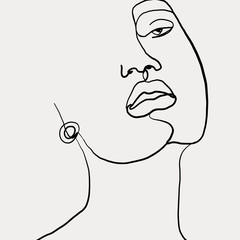 Continuous line, drawing of beauty woman face with earring , fashion concept, woman beauty minimalist, vector illustration for t-shirt slogan design print graphics style. One line fashion illustration