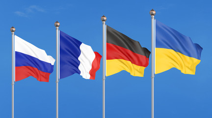 Flags of France, Germany, Russia, and Ukraine. Normandy Format meeting on eastern Ukraine. 3D illustration on sky background. – Illustration.