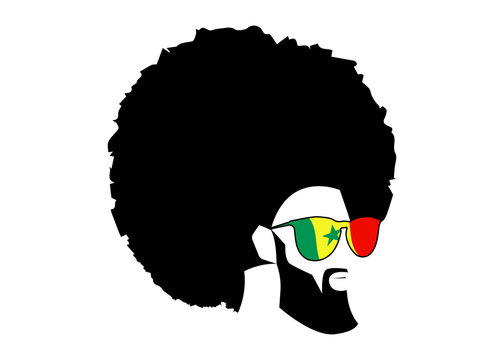 Retro man in 1970s hairstyle. Frizzy, 70's with beard and sunglasses of Senegal flag. Funky cool African man with afro hairstyle and barber concept, vector illustration isolated or white background