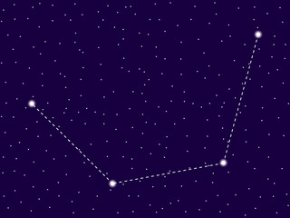 Mensa constellation. Starry night sky. Zodiac sign. Cluster of stars and galaxies. Deep space. Vector illustration