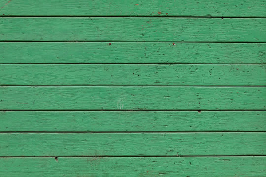 Old Weathered Green Painted Horizontal Wooden Panels Texture