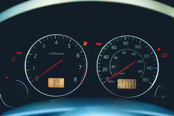 Car instrument panel or speedometer
