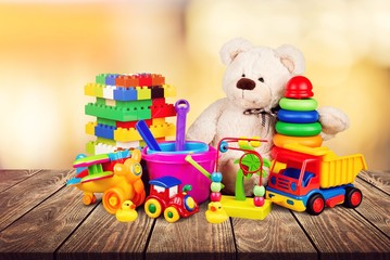 Toys colorful collection on pastel background