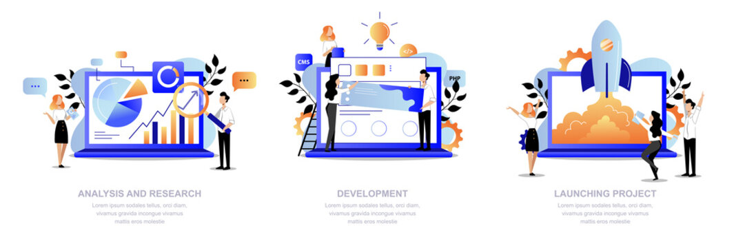 Project development steps. Team make research, analysis, web design and launch startup. Vector flat cartoon illustration