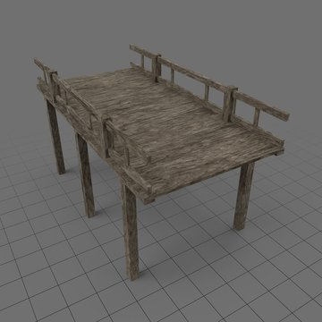Wooden pier with railings