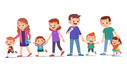 kids with parent vector set bundle