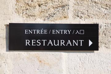 Poster de jardin Nature arrow sign restaurant entry in multilingual