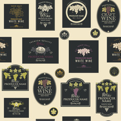 seamless pattern on the theme of wine with various wine labels with images of grapes, landscapes, winery and other in retro style