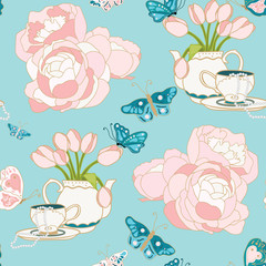 Roses, tulips, Teapots, Teacups and Pearls Seamless Repeat Pattern