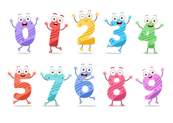 Cute funny numbers vector illustration set