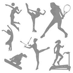 Silhouette of sports girls, sport icons, silhouette of a girl, linear art, vector illustration, eps 10
