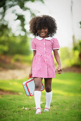Little girl in gingham dress with lunch box