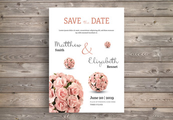 Wedding Invitation Layout with Rose Bouquet