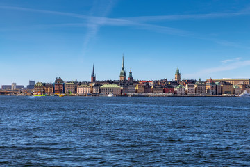 Wall Mural - View of the old town of Gamla Stan from Lake Malaren