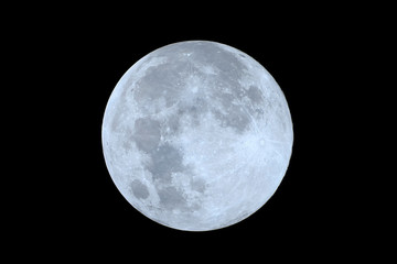 Full moon as seeing from the southern hemisphere. Amazing the moon rough surface full of craters from meteorites coming from the universe and crashing our satellite the Moon an awe relief lunar map Fotoväggar