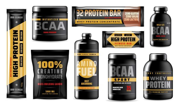 Protein containers, BCAA sport food supplements
