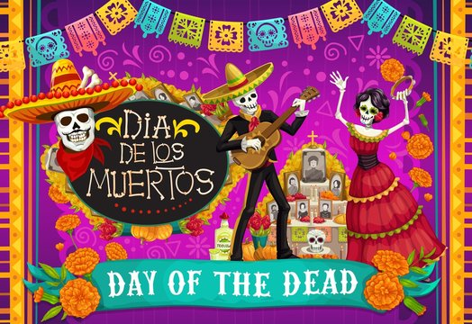 Mexican Dia de los Muertos, skeletons dancing