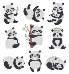 Wall Mural - Panda set hand drawn style.