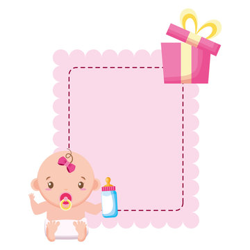 cute girl in diaper with bottle and gift baby shower
